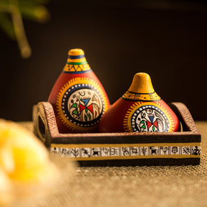 Terracotta Warli Handpainted Salt and Pepper Shaker With Tray