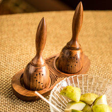 Load image into Gallery viewer, Unique Slanting Salt and Pepper Shaker With Wooden Engraved Tray In Sheesham Wood
