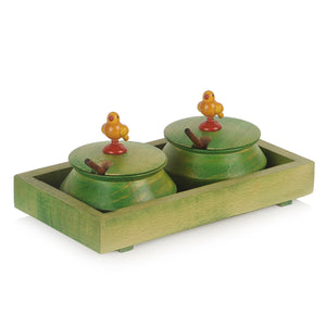 Parrot Jar Set With Tray And Spoon In Wood Green