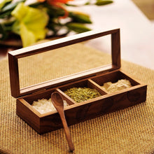 Load image into Gallery viewer, Sheesham Wood  Rectangular Spice Box With Hand Carving (3 Compartments)