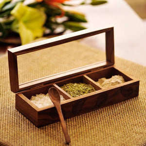 Sheesham Wood  Rectangular Spice Box With Hand Carving (3 Compartments)