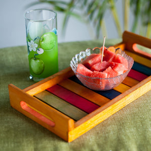 Multicoloured Wooden Tray Orange