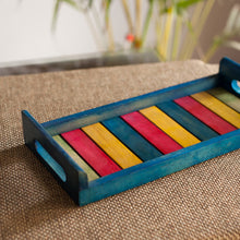 Load image into Gallery viewer, Multicoloured Wooden Tray Blue