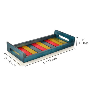 Multicoloured Wooden Tray Blue