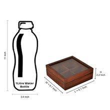 Load image into Gallery viewer, Sheesham Wood Square Spice Box With Spoon (4 Containers)
