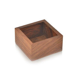 Sheesham Wood Square Spice Box With Spoon (4 Containers)
