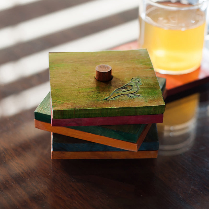 Multicolured Parrot Carving Coasters Set In Wood