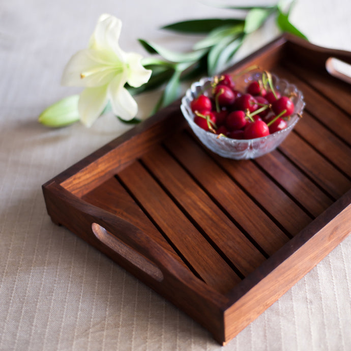 Sheesham Wooden Tray In Brown