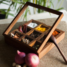 Load image into Gallery viewer, Sheesham Wood Square Spice Box With Spoon (9 Containers)