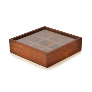 Sheesham Wood Square Spice Box With Spoon (9 Containers)