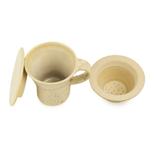 "Handcrafted ""Studio Pottery"" Green Tea Filter Mug In Creamish White"