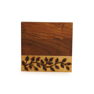 Floral Design Coasters Set Of 6 With Stand In Sheesham Wood