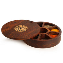 Load image into Gallery viewer, Sheesham Wood Circular Spice Box With Floral Work (9 Compartments)