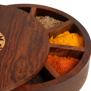 Sheesham Wood Circular Spice Box With Floral Work (9 Compartments)