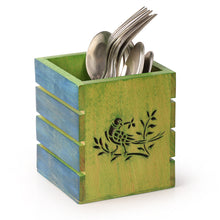 Load image into Gallery viewer, Bird & Stem Burnt Art Work Wooden Cutlery Cum Stationary Holder