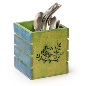 Bird & Stem Burnt Art Work Wooden Cutlery Cum Stationary Holder
