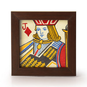 Playing Cards Canvas Hand Painted Coasters Set Of 4