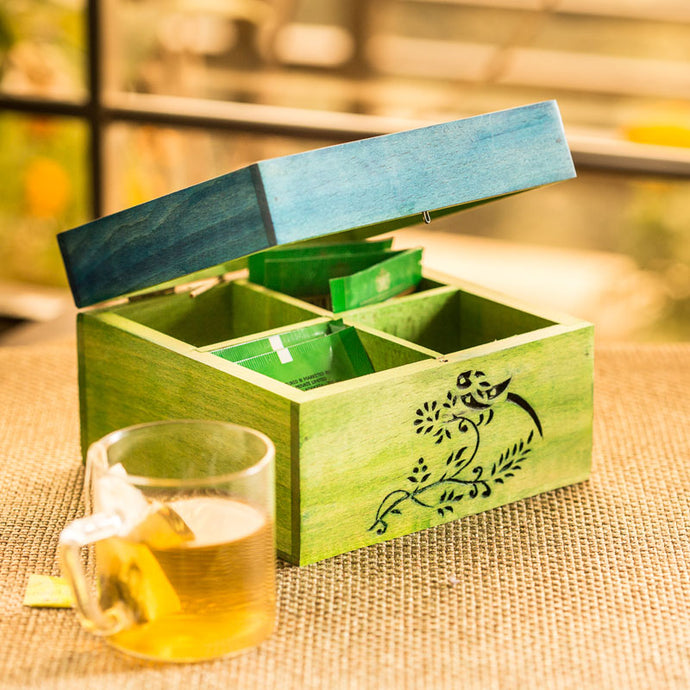 Bird Collection Wooden Tea Box cum Multi-Utility Box