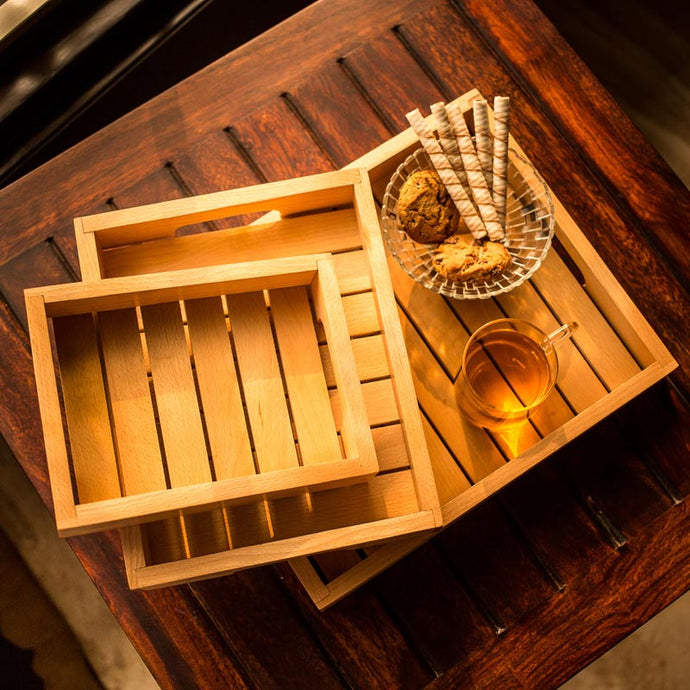 Handcrafted Sheesham Wooden Tray in Brown