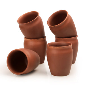 Studio Pottery Ceramic Kullad Set Of 6 In Brick Brown