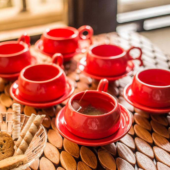 Studio Pottery Ceramic Cup & Saucer Set Of 6 In Red