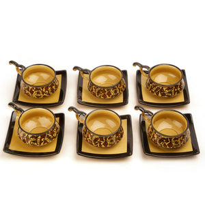 Studio Pottery Ceramic Cup & Saucer Set Of 6 In Brown