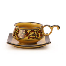 Load image into Gallery viewer, Studio Pottery Ceramic Cup & Saucer Set Of 6 In Brown