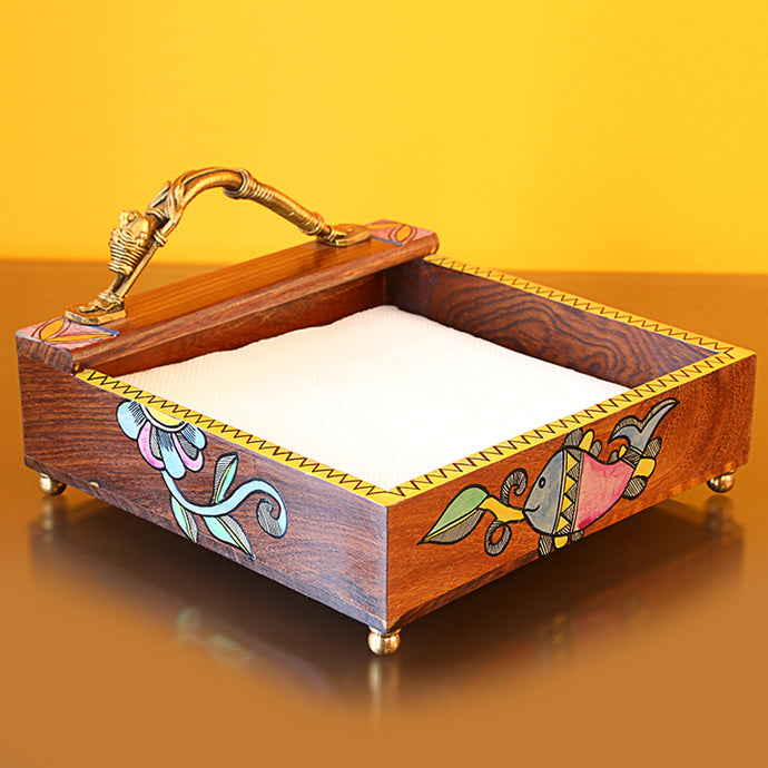 Handpainted Wooden Napkin Holder With Madhubani Art