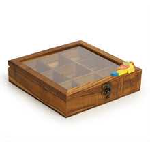Load image into Gallery viewer, Teak Wood Bird Of Aromas Spice Box (9 Compartments)