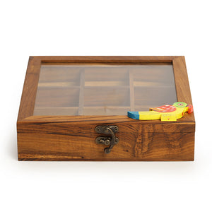 Teak Wood Bird Of Aromas Spice Box (9 Compartments)