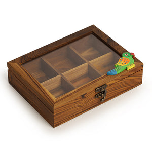 Teak Wood Bird Of Aromas Spice Box (6 Compartments)