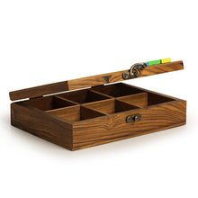 Load image into Gallery viewer, Teak Wood Bird Of Aromas Spice Box (6 Compartments)
