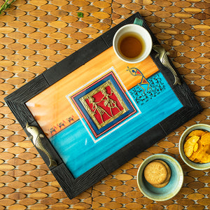 Sunset Orange & Ocean Blue Handpainted Warli & Dhokra Wooden Tray