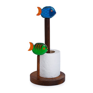 Hand-Painted Fishes Napkin Holder In Sheesham Wood