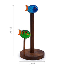 Load image into Gallery viewer, Hand-Painted Fishes Napkin Holder In Sheesham Wood