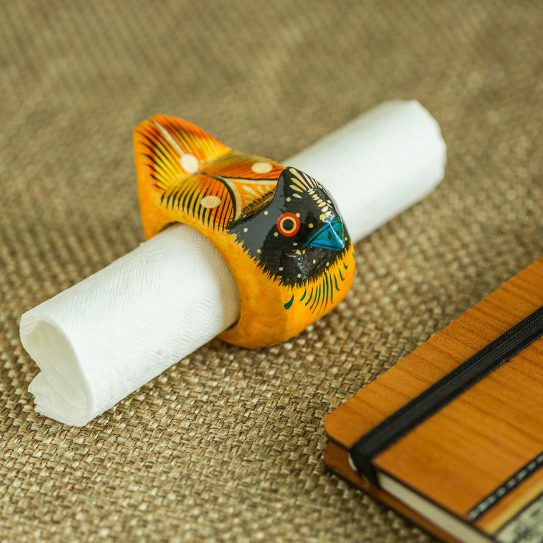 Handmade & Hand-Painted Bird Napkin Holder In Wood