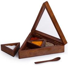Load image into Gallery viewer, Sheesham Wood Pyramid Spice Box With Spoon (4 Containers)