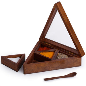Sheesham Wood Pyramid Spice Box With Spoon (4 Containers)