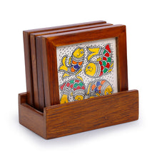 Load image into Gallery viewer, 'Water Wildlife' Mithila Hand-Painted Coasters With Stand In Teak Wood (Set Of 4)