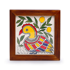 'Water Wildlife' Mithila Hand-Painted Coasters With Stand In Teak Wood (Set Of 4)