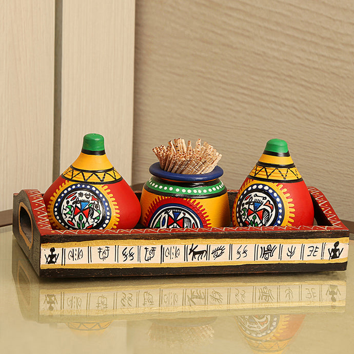 'Matkis On The Table' Terracotta Warli Salt & Pepper Shaker With Toothpick Holder & Wooden Tray