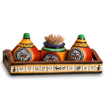 Load image into Gallery viewer, 'Matkis On The Table' Terracotta Warli Salt & Pepper Shaker With Toothpick Holder & Wooden Tray