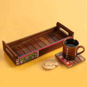 'Paints & Planks' Warli Hand-Painted Tray In Sheesham Wood
