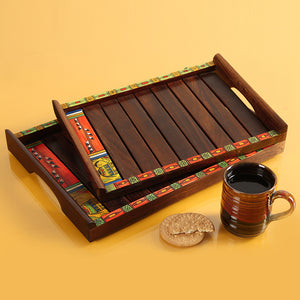 'Paints & Planks' Madhubani Hand-Painted Nested Trays In Sheesham Wood (Set Of 2)