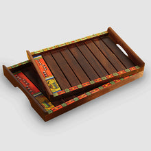 Load image into Gallery viewer, 'Paints & Planks' Madhubani Hand-Painted Nested Trays In Sheesham Wood (Set Of 2)