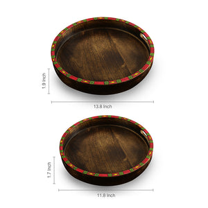 'Wonder-In Circles' Madhubani Hand-Painted Nested Wooden Trays (Set Of 2)