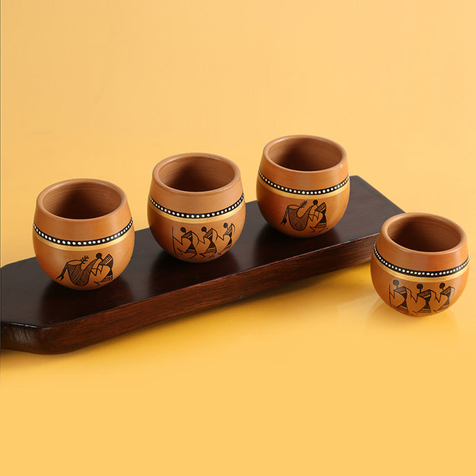 'New-Old World Charms' Warli Hand-Painted Kulhads In Terracotta (Set Of 4)