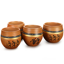 Load image into Gallery viewer, 'New-Old World Charms' Warli Hand-Painted Kulhads In Terracotta (Set Of 4)