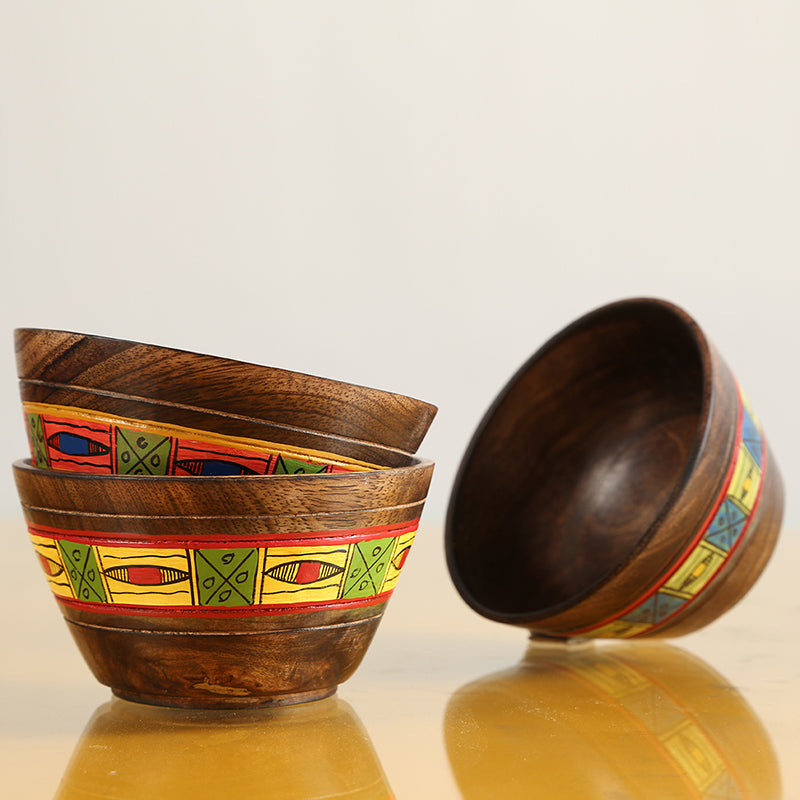 'Simply Ethnic' Hand-Painted Round Shaped Bowls In Wood (Set Of 3)