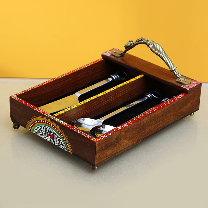 'Woody Hues' Warli Hand-Painted Sheesham Wood Cutlery Holder With Dhokra Handle